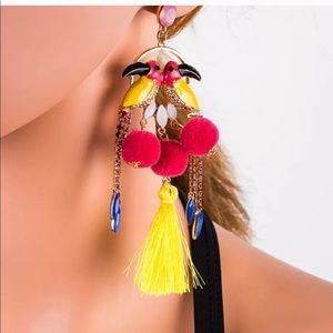 Jewelry - Rhinestone parrot pendant tassel dangle earrings